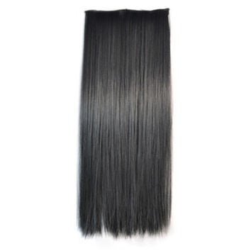 5 Cards Long Straight Hair Extension Wig black
