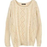 Cable and Diamond Knit Top