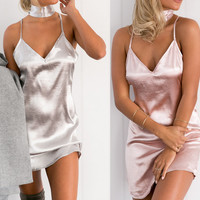 The new milk silk dress sexy halter straps luster