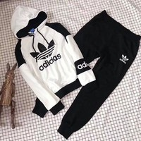 Tagre™ ADIDAS Top Sweater Hoodie Pants Trousers Set Two-Piece Sportswear White
