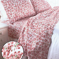 Ashley Rose Pink Cotton Blend Twin Sheet Set Floral Flowers Country Bedroom