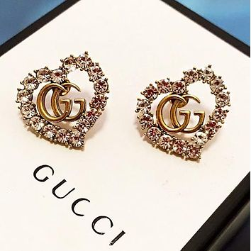 GUCCI Fashion Women Classic Heart Diamond Earrings Jewelry Accessories