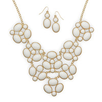 Gold Tone Bubble Fashion Necklace and Earring Set