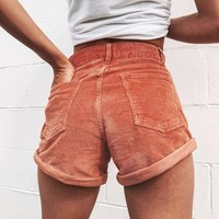 Caramel Corduroy Pocket Shorts