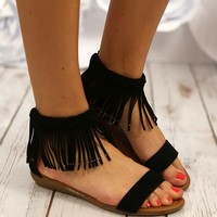 Wild Hearts Fringe Sandals in Black