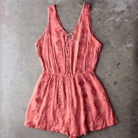 lace embroidered romper in brick