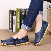 2017 Women Loafers Lady Ballerina Flat Shoes Woman Summer Flats Hollow Out Comfortable Soft Genuine Leather Moccasins size 34-44
