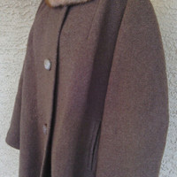 Swing coat 60s authentic vintage fur collar brown medium large mad men coat retro mod 2 hip pocket stunning !