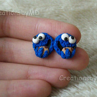 Cookie Monster stud earrings polymer clay fimo handmade