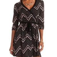 Belted Chevron Print Wrap Dress by Charlotte Russe - Black Combo