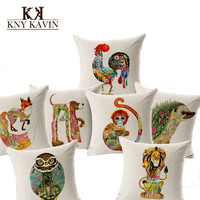 Home  Cushions Animal Totem Pattern Cotton  Car Pillow Office Sofa Cushion Covers High Quality Signature Cotton Cojines HH668