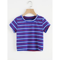 Contrast Striped Tee Multicolor