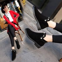 Masorini Women Flock Luxury Crystal Low Heel Boots Female Sewing Solid Shoes New 2018 Fashion Ankle Winter Boots For Girls W-069