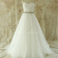 Formal Women Vintage White Wedding Dresses Bridal Gowns Tulle Beading Sash Sweep Train Custom Made = 1933127108