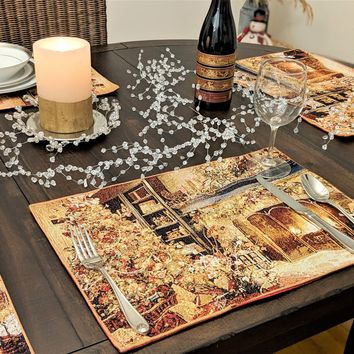 """DaDa Bedding Set of 4 PCs Golden Christmas Holiday Tapestry Placemats 13"""" x 19"""" (14604)"""
