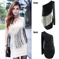 Women Peacock Tassels Long Sleeves One Shoulder Cocktail Party Mini Dress B98B 13121 One Size Vestidos = 5738832257