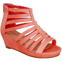 Girls Strappy Wedge, Coral