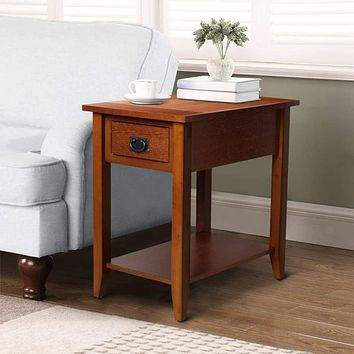 Transitional Wooden Chair Side End Table with Drawer and Open Shelf, Brown