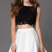 Short Two Piece Dress 7300 with Lace Bodice