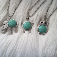 Owl or Turtle Turquoise Stone Necklace
