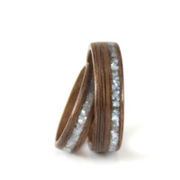 Walnut Wooden Wedding Ring Pair With Pearl Inlay