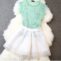Fashion hollow jacket + skirt (Two-piece)
