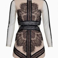 Black Lace & Nude Contrast Long Sleeve Bodycon Dress