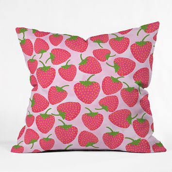 Lisa Argyropoulos Strawberry Sweet In Pink Outdoor Throw Pillow