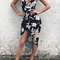 Navy Floral Print Racer Back Irregular Hem Dress