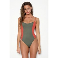 Rosie Color Block Scoop Back One Piece Swimsuit - Tuscan Terracotta Orange/Forest Green