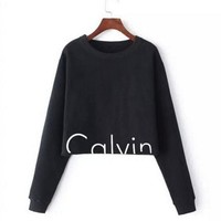 Calvin klein Long Sleeve Pullover Sweatshirt Top Sweater Black