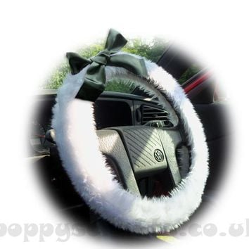 Snow White fluffy faux fur fuzzy car steering wheel cover with black satin Bow
