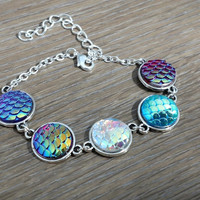Multicolor Mermaid- fish scale silver tone link bracelet