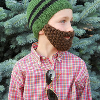 Beard Hat, Knit Boys & Mens Cap, Knitted Beanie Beard, Pick Hat and Beard Color, Toddler Children Youth Teen Adult Knittting