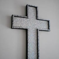SILVER GLITTER & BLING Wall Cross - handpainted wood cross w/ clear rhinestones