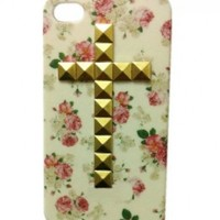 Leegoal DIY Punk Single Cross Style Mobile Phone Protective Skin for iPhone 4S 4 Mobile Cover with Studs and Spikes Golden
