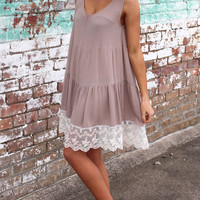 Tiered Lace Tank Dress {Mocha}