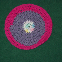 Round Washcloth Dishcloth Purple Pink