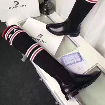 Givenchy Autumn And Winter Fashion New Star Stripe Knit Long Boots Comfortable Shoes Women Black