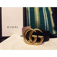 Samplefine2 Authentic Gucci Leather Belt with Double G Buckle