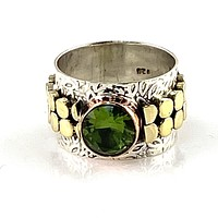 Alexandrite Three Tone Sterling Silver Leaf Band Ring