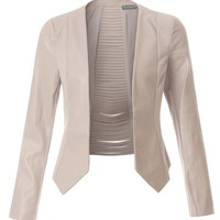 LE3NO Womens Faux Leather Long Sleeve Cropped Blazer Jacket with Cutout Back