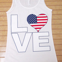 Ladies Jersey Tank Top LOVE USA Flag 4th Of July