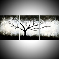 "ARTFINDER: triptych black and white impasto 3 panel wall art color black white tree in wood ""The Wild Wood"" 3 panel wall abstract canvas abstraction 54 x 24 "" by Stuart Wright - ""The Wild Wood"" wood black white impasto tree a..."