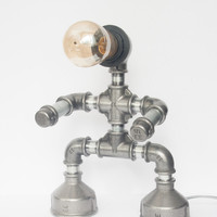 Steampunk pipe table lamp