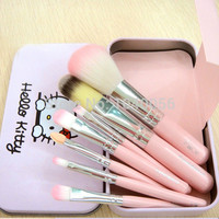 Hot sale Hello Kitty 7 pcs Mini Makeup brush Set cosmetics kit make up tools for eyeshadow blush with Metal box.