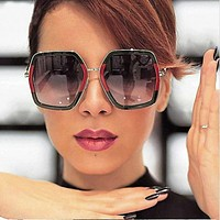 OVERSIZED VINTAGE RETRO Style Flat Lens Crystal Square Octagon Frame SUN GLASSES