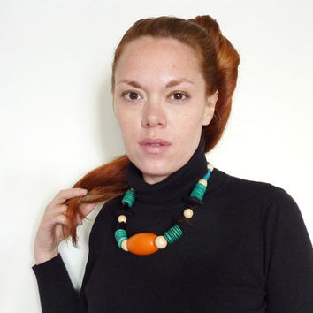Chunky Tribal Statement Necklace. Handmade With Vintage Wood Beads.
