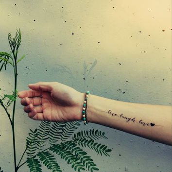 LIVE.LAUGH.LOVE heart tattoo - InknArt Temporary Tattoo -  pack collection quote anchor bird love body sticker wrist