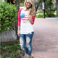 Causal Flag Print Long Sleeve T Shirt 11288